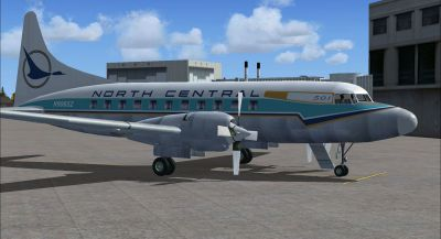 Screenshot of Gold Feather North Central Convair 580 on the ground (right side).