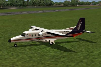 Screenshot of Gorkha Airlines Dornier Do228-212 on the ground.