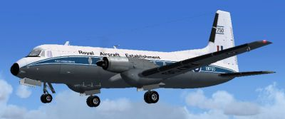 Screenshot of Hawker Siddeley HS 748 RAF Bedford with landing gear lowered.
