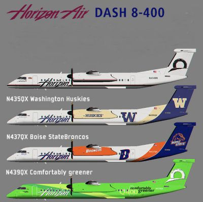 Screenshot of four Horizon Air Dash 8-400 liveries.