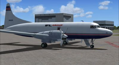 Screenshot of IFL Group Convair 580 on the ground (right side).