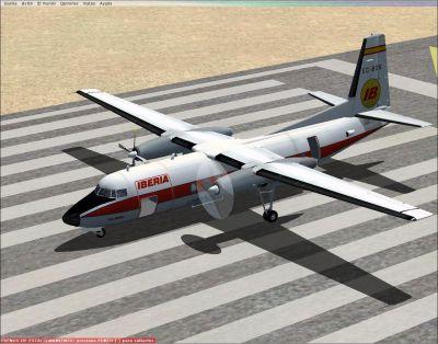 Screenshot of Iberia Fokker 27-200 on runway.