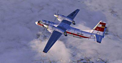 Screenshot of Interflug Antonov An-32 in flight.