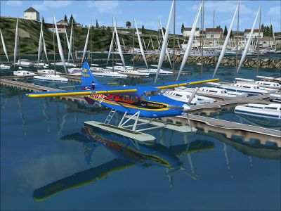 Screenshot of Kenmore Air DeHavilland DHC3 on the water.
