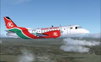 Screenshot of Kenya Airways SAAB 340B in flight.