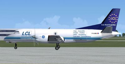 Screenshot of LCL Cargo Saab 340F on the ground.