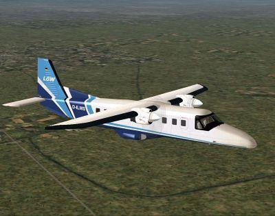 Screenshot of LGW Dornier Do228-212 in flight.
