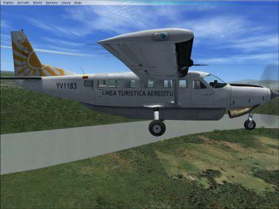 Screenshot of LTA Aereotuy Cessna 208B in flight.