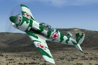 Screenshot of a green and white Lavochkin La-9 in the air.