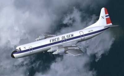 Screenshot of Lockheed L-188CF Electra LN-FOI in flight.