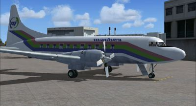 Screenshot of Mackey International Convair 580 on the ground (right side).