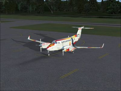 Screenshot of Manchester United Beechcraft King Air on the ground.