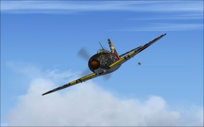 Screenshot of Mitsubishi J2M3 Raiden in flight.