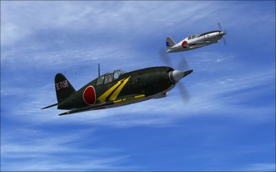 Screenshot of two Mitsubishi J2M3 Raidens in flight.
