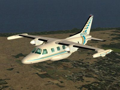 Screenshot of Mitsubishi MU-2 Marquise 541 in flight.