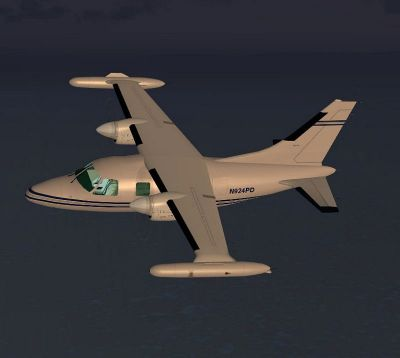 Screenshot of Mitsubishi MU-2 Solitaire in flight.
