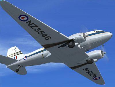 Screenshot of NZ Warbirds C-47 'NZ3546' in flight.