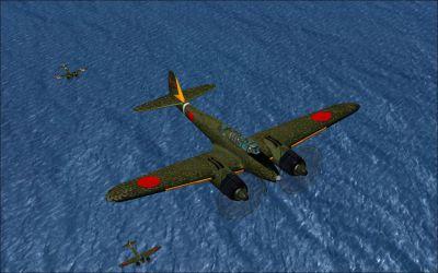 Screenshot of Nakajima Gekko flying over water.
