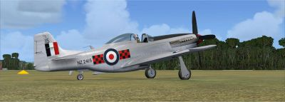 Screenshot of New Zealand Territorial Squadron (TAF) P-51 on the ground.