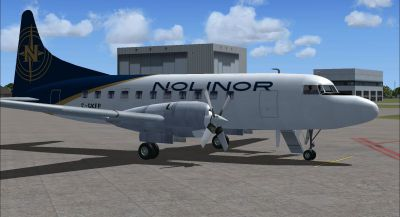 Screenshot of Nolinor-Convair-580-fsx2 on the ground (right side).