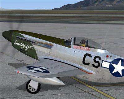 Screenshot of P-51D Mustang 'Daddy's Girl' on the ground.