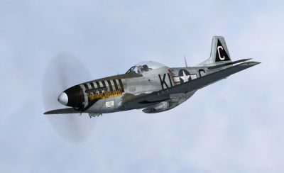 Screenshot of P-51D 'Cathy Beloved' in flight.
