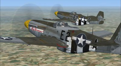 Screenshot of two North American P-51D-5-NA 361st FG in the air.