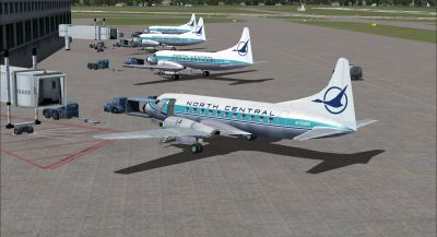 Screenshot of North Central Convair 580 on the ground at the airport.