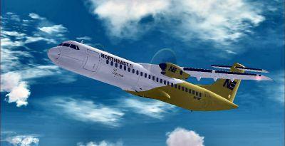 Screenshot of Northeast Airlines ATR 72-500 in flight.