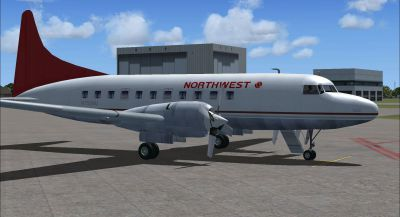Screenshot of Northwest Convair 580 on the ground (right side).