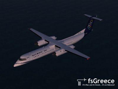 Screenshot of Olympic Air DeHavilland Dash 8Q-400 in flight.