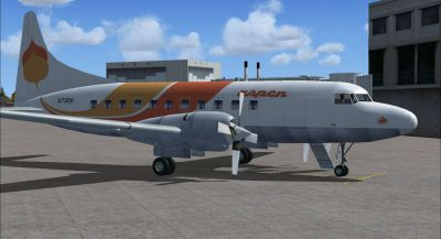 Screenshot of Orange Aspen Convair 580 on the ground (right side).