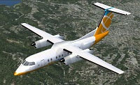 Screenshot of Orbit Airlines DeHavilland Dash 8 in flight.