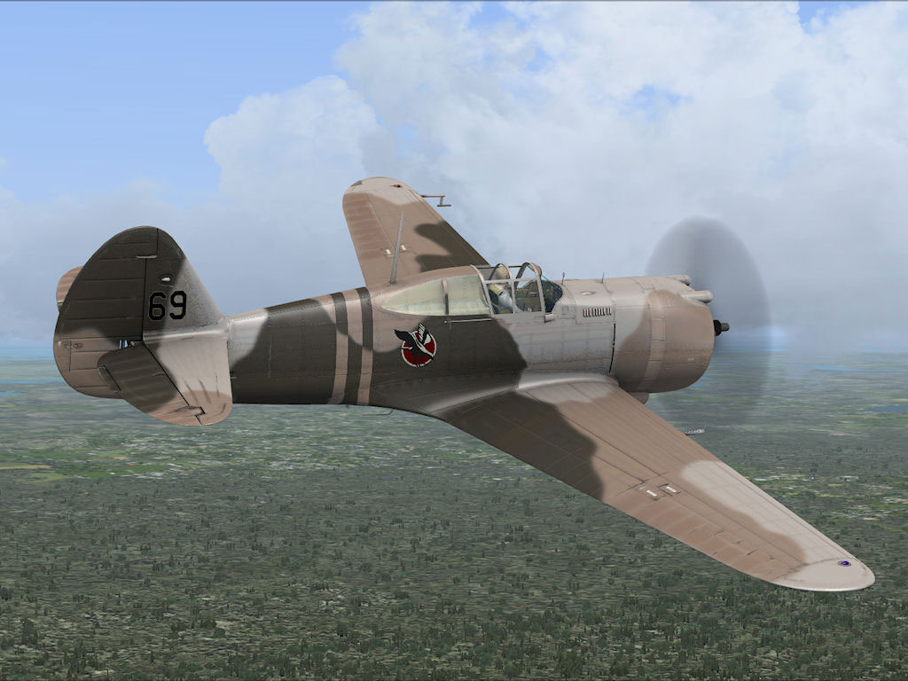Screenshot of P-36 Hawk in flight.: flyawaysimulation.com/downloads/files/9639/fsx-p-36-hawk-texture-pack