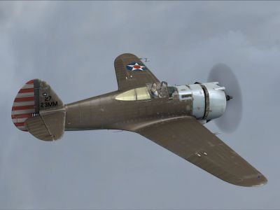 Screenshot of 27-23MM P-36 Hawk in flight.