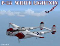 """Screenshot of P-38 """"White Lightnin"""" in flight."""