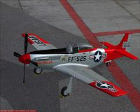 "Screenshot of P-51D Mustang N151AF ""Val-Halla"" on the ground."
