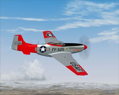"Screenshot of P-51D Mustang N151AF ""Val-Halla"" in flight."