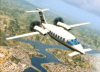 Screenshot of Piaggio P180 Avanti in flight.