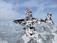 Screenshot of Pilatus PC-6C_H2 with digital camouflage in flight.