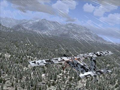Screenshot of Pilatus PC-6C_H2 with digital camouflage, flying low over trees.