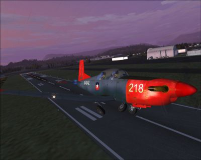 Screenshot of Pilatus PC-7 shortly after take-off.