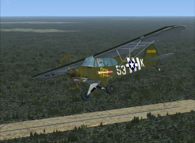 "Screenshot of Piper L-4 Grasshopper ""Rosie the Rocketer"" in the air."