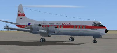 Screenshot of Qantas Lockheed L-188C Electra on the ground (right side).