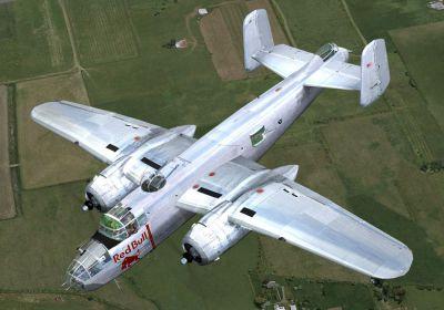 Screenshot of Red Bull B-25 in flight.