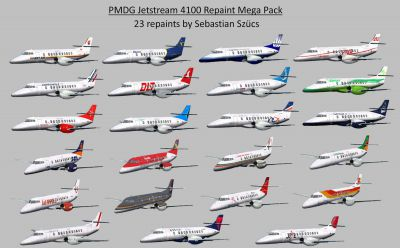 Pictuure showing all 23 PMDG Jetstream 4100 repaints.