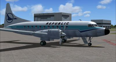 Screenshot of Republic Convair 580 on the ground (right side).