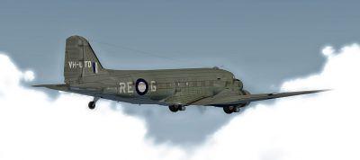 Screenshot of Royal Australian Air Force Douglas C-47 in flight.