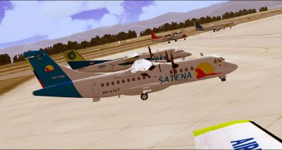 Screenshot of SATENA Colombia ATR 42-500 on the ground.