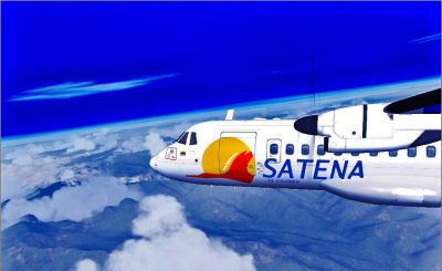 Screenshot of SATENA Colombia ATR-42 in flight.